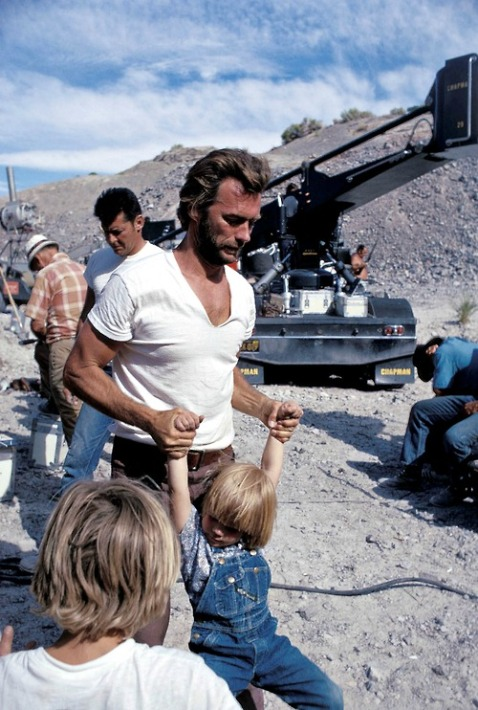 Clint-Eastwood-on-the-set-with-his-son-Kyle-1972.-Photo-by-Douglas-Jones.