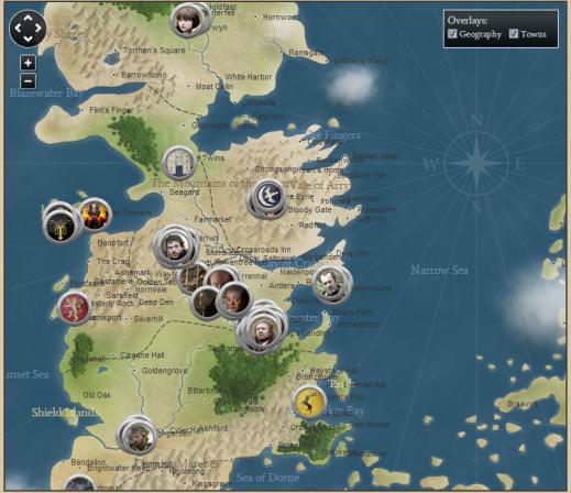 """Mapa interactivo de """"Juego de Tronos"""""""