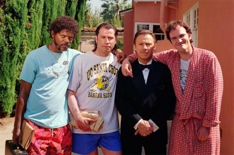 Samuel-L.-Jackson-John-Travolta-Harvey-Keitel-and-Quentin-Tarantino-on-the-set-of-Pulp-Fiction